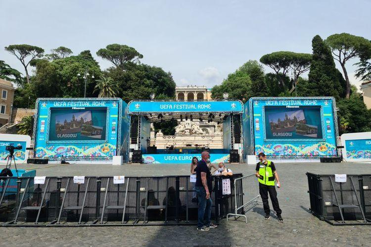 Salah satu sudut Fanzone di Roma jelang partai pembuka Euro 2020, Sabtu (12/6/2021) dini hari WIB.