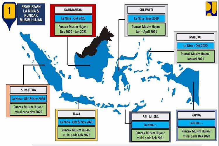 Berdasarkan data BMKG, musim hujan 2020-2021 akan dibarengi fenomena La Nina yang mengakibatkan curah hujan meningkat sebesar 30 persen sampai 40 persen di beberapa wilayah Indonesia.