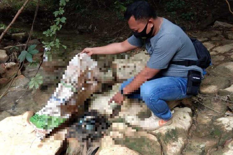 Polisi gelar olah TKPpenemuan jasad bayi laki-lakidi kawasan hutan, Desa Sumberagung, Kecamatan Ngaringan, Kabupaten Grobogan, Jawa Tengah, Rabu (13/1/2021).