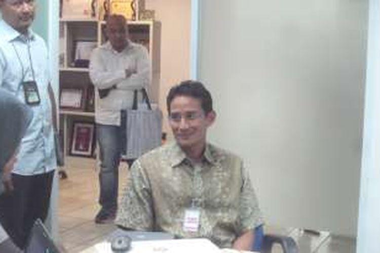 Bakal calon gubernur DKI Jakarta Sandiaga Uno saat berkunjung ke Redaksi Kompas.com, Rabu (2/3/2016).
