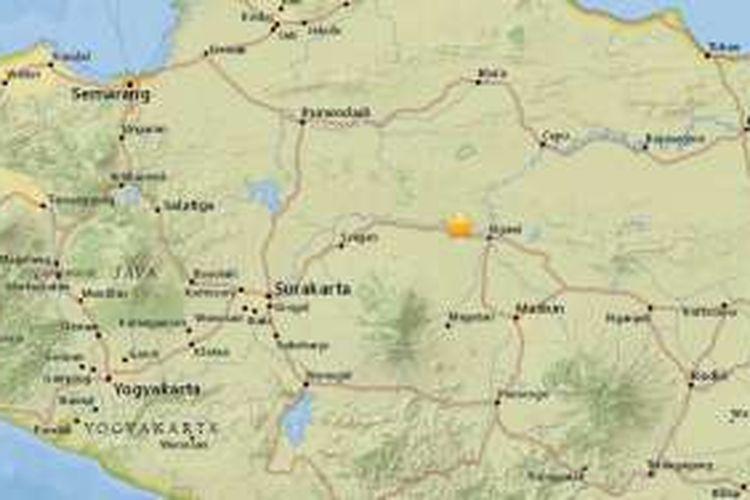 Pusat gempa bumi berkekuatan 4,9 SR dekat Kota Madiun, Jawa Timur, Jumat (4/11/2016) pukul 12.08 WIB.