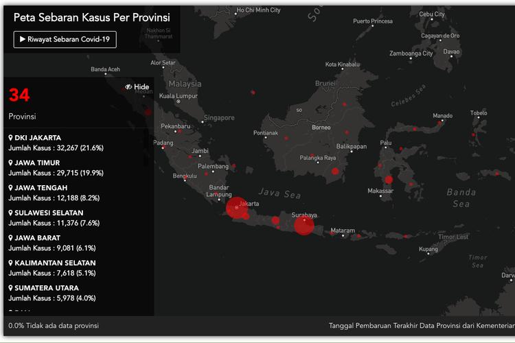 Tangkapan layar portal https://covid19.go.id/peta-sebaran tentang kasus vorus corona di Indonesia