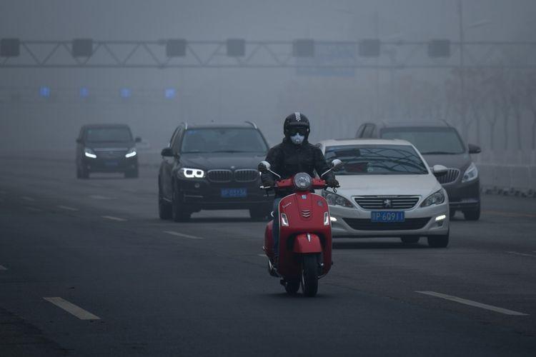 Kondisi lalu lintas di Beijing, China, pada 14 November 2018.