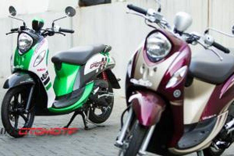 Pilihan warna Yamaha Fino FI, hijau sporty dan ungu klasik.