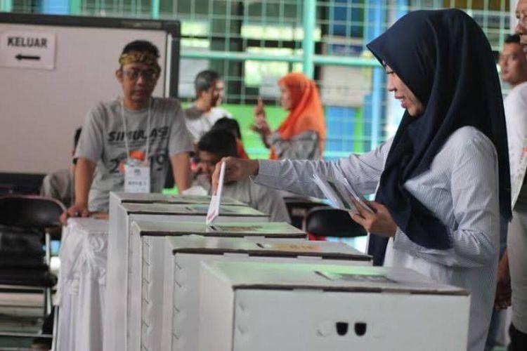 Proses pemungutan suara di Kabupaten Cianjur, Jawa Barat
