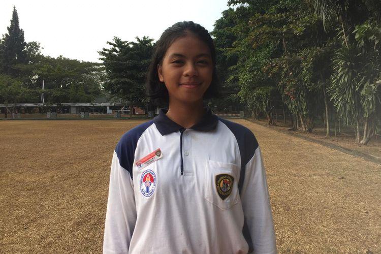 Paskibraka Nasional 2019 asal DKI Jakarta, Rachel Emmanuel Miranda di Pusat Pemberdayaan Pemuda dan Olahraga Kementerian Pemuda dan Olahraga (PP-PON Kemepora), Cibubur, Jakarta Timur, Rabu (31/7/2019).