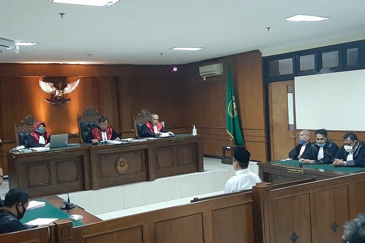 Terdakwa IYA saat mengikuti sidang di Pengadilan Negeri (PN) Sleman dengan agenda pembacaan putusan majelis hakim.