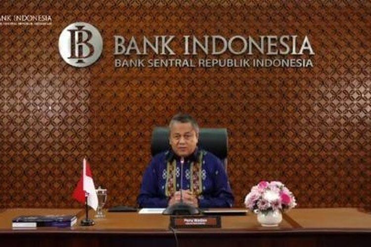 Gubernur Bank Indonesia (BI) Perry Warjiyo dalam konferensi video di Jakarta, Jumat (17/4/2020)