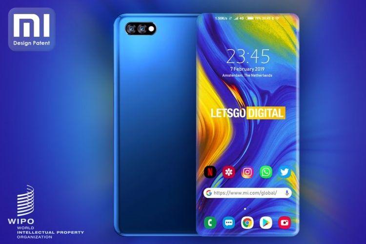 Ilustrasi ponsel Xiaomi dengan sisi melengkung