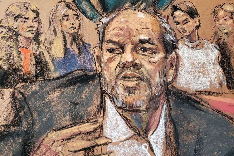 Harvey Weinstein berbicara dalam putusan pengadilan terkait kasus kekerasan seksual dan pemerkosaan yang dilakukannya terhadap belasan wanita. Para korban juga hadir dalam persidangan tersebut. New York City, New York Rabu 11 Maret 2020.