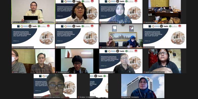 Agenda penandatanganan program kerja sama Aku Siap Ekspor yang digagas tiga kementerian dan tiga lembaga besar Indonesia. Pelaksanaan dilakukan secara daring, Jumat (8/10/2021).