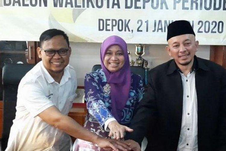 Tiga bakal calon Wali Kota Depok 2021-2026 yang diusung PKS, kiri-kanan: Imam Budi Hartoni, T Farida Rahmayanti, dan Hafid Nasir saat jumpa pers di Kantor DPD PKS Kota Depok, Pancoran Mas, Depok, Selasa (21/1/2020).