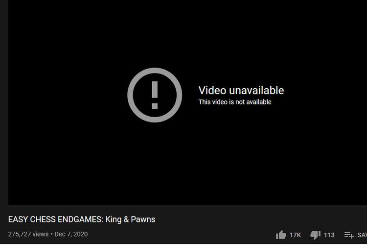 Video milik Gothamchess menampilkan keterangan this video is not available ketika diklik.