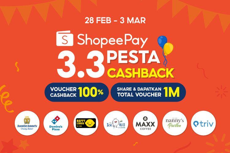 Melalui 3.3 Pesta Cashback ShopeePay, nikmati berbagai voucher makanan menarik dan dapatkan kesempatan untuk menang voucher Rp 1 miliar.