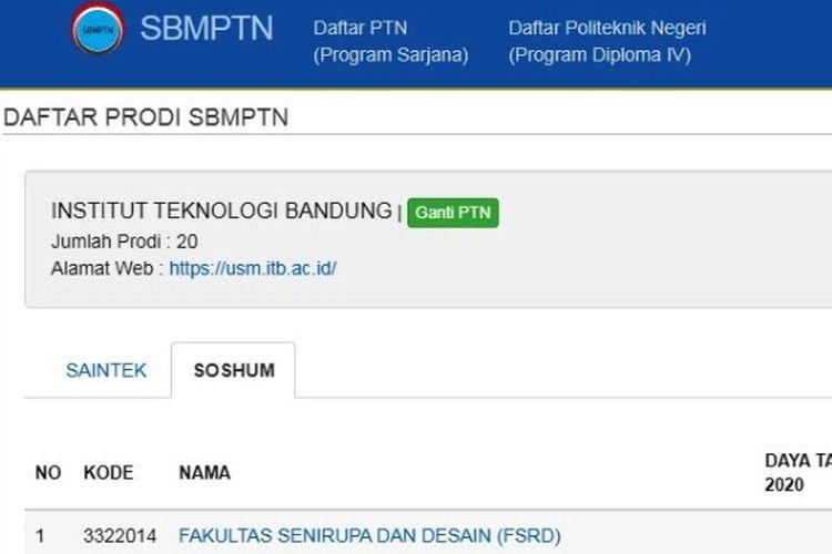 Tangkapan layar daftar prodi di ITB pada SBMPTN 2020.