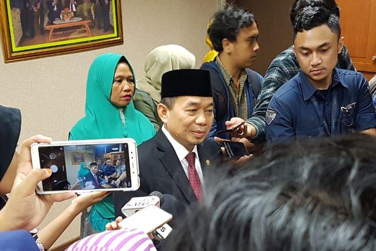 Ketua Fraksi Partai Keadilan Sejahtera (PKS) Jazuli Juwaini di Kompleks Parlemen, Senayan, Jakarta, Selasa (1/10/2019).