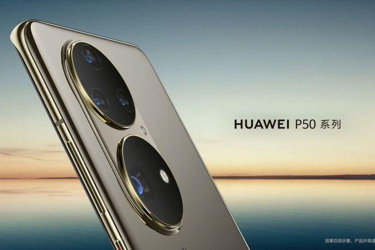 Penampakan bagian punggung Huawei P50 series.