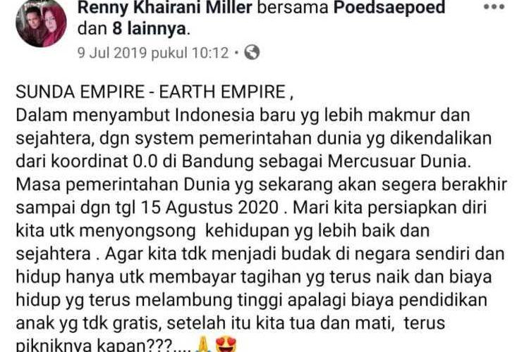 Beredar foto screenshoot sebuah akun yang mempost Sunda Empire di pesan singkat WA.