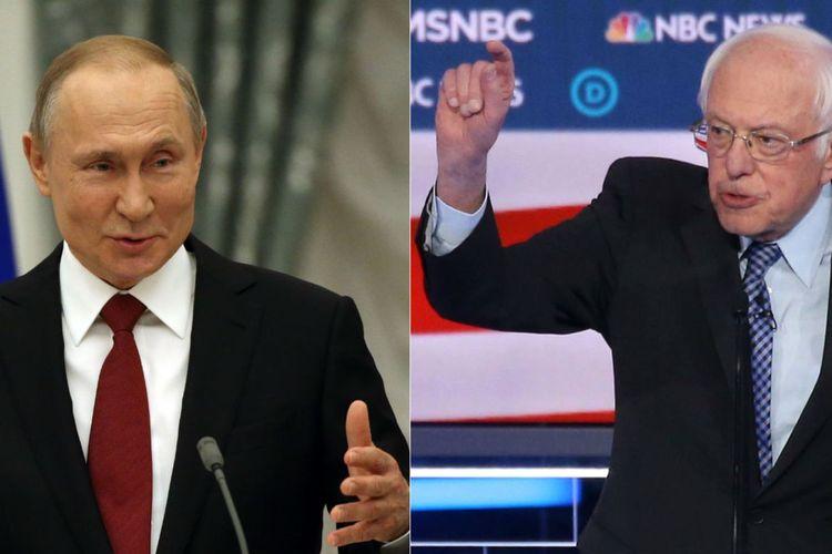 Presiden Rusia Vladimir Putin (kiri) dan Senator Vermont sekaligus bakal calon presiden Partai Demokrat, Bernie Sanders.