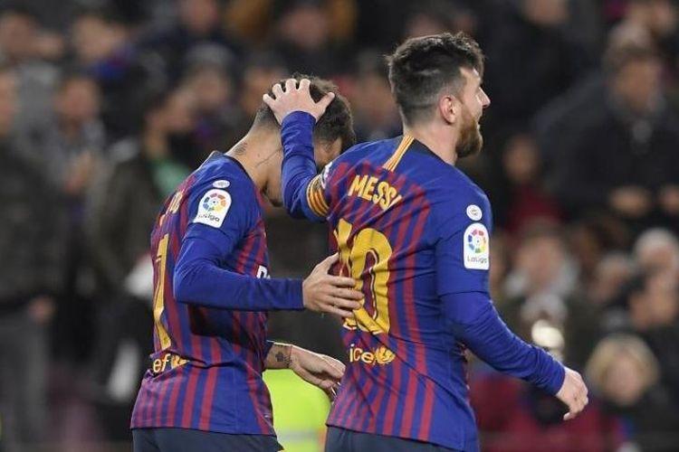 Lionel Messi dan Philippe Coutinho pada laga melawan Sevilla, Kamis (2/5/2019)