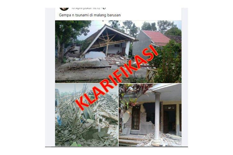 Tangkapan layar unggahan Facebook berisi foto kerusakan akibat gempa di Malang