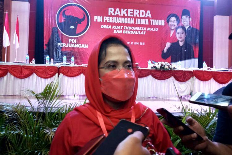 Sekretaris DPD PDI Perjuangan Jawa Timur Sri Untari Bisowarno pada Rakerda PDI Perjuangan Jawa Timur, Senin (21/6/2021)