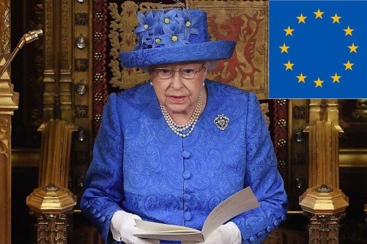 Kostum Ratu Elizabeth yang mirip bendera Uni Eropa