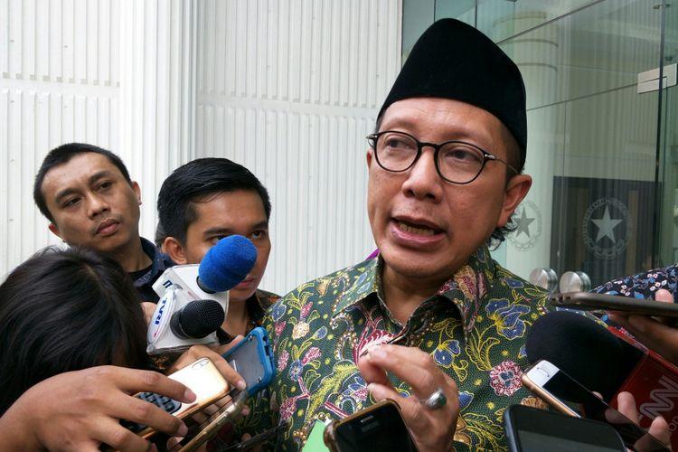 Menteri Agama Lukman Hakim Syaifuddin ketika ditemui di Kantor Wakil Presiden RI, Jakarta, Selasa (22/5/2018).