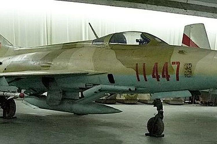 Jet tempur buatan China Chengdu J-7 yang dimuseumkan.
