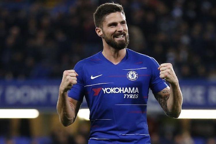 Olivier Giroud merayakan golnya pada laga Chelsea vs PAOK di Stamford Bridge dalam lanjutan Liga Europa, 28 November 2018.