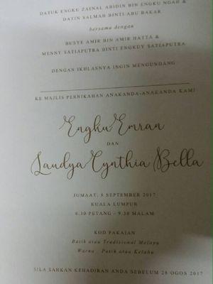 Undangan pernikahan Engku Emran dan Laudya Cynthia Bella