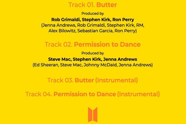 Daftar lagu pada Butter versi CD yang akan dirilis BTS pada 9 Juli 2021.