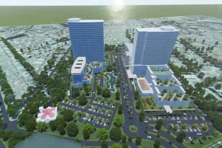 Blok Plan RS Jantung dan Kanker (kiri) milik Pemprov DKI, 25 lantai plus 500 unit apartemen, dan RS Pemeliharaan Sel dan Infeksi (kanan) milik Yayasan Kesehatan Sumber Waras, Grogol Petamburan, Jakarta Barat.
