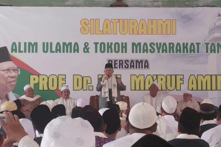 Calon Wakil Presiden Maruf amin melakukan kunjungan ke Pondok Pesantren An Nawawi, Kecamatan Tanara, Kabupaten Serang, Banten Selasa (19/2/2019).