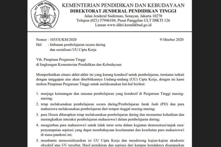 Tangkapan layar surat Kemendikbud mengenai imbauan kepada mahasiswa agar tidak ikut unjuk rasa penolakan UU Cipta Kerja.