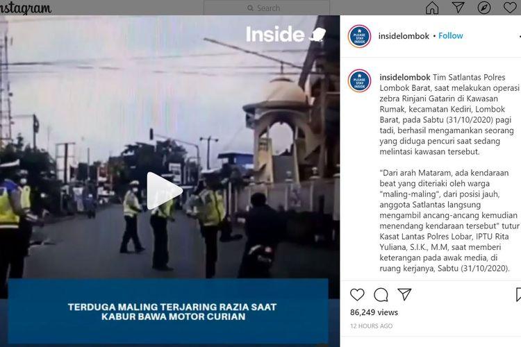 Sebuah video viral beredar di media sosial Instagram aksi seorang anggota polisi lalu lintas menendang pencuri saat lewat menggunakan sepeda motor.