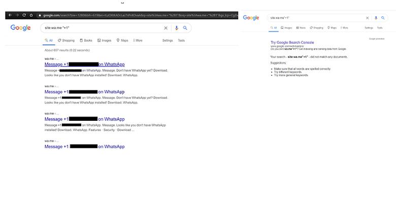 (kiri) Rangkaian kata kunci yang digunakan untuk mencoba menemukan nomor ponsel dari fitur Click to Chat yang terindeks Google. (Kanan) Namun saat dicoba KompasTekno, hasil pencarian yang dimaksud tidak ditemukan dengan langkah serupa.
