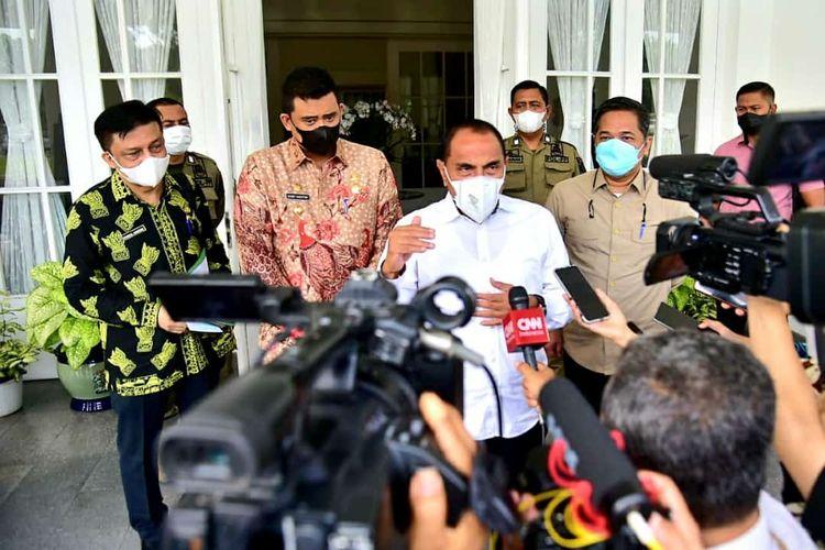 Gubernur Sumut, Edy Rahmayadi bertemu dengan Wali Kota Medan, Bobby Nasution untuk membahas situasi terkini penanganan Covid-19.