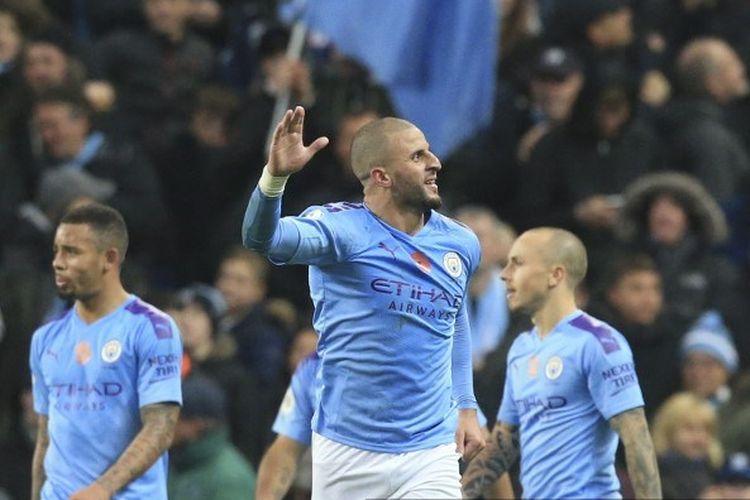 Bek Manchester City, Kyle Walker, merayakan golnya pada perttandingan Man City vs Southampton di Stadion Etihad, 2 November 2019.