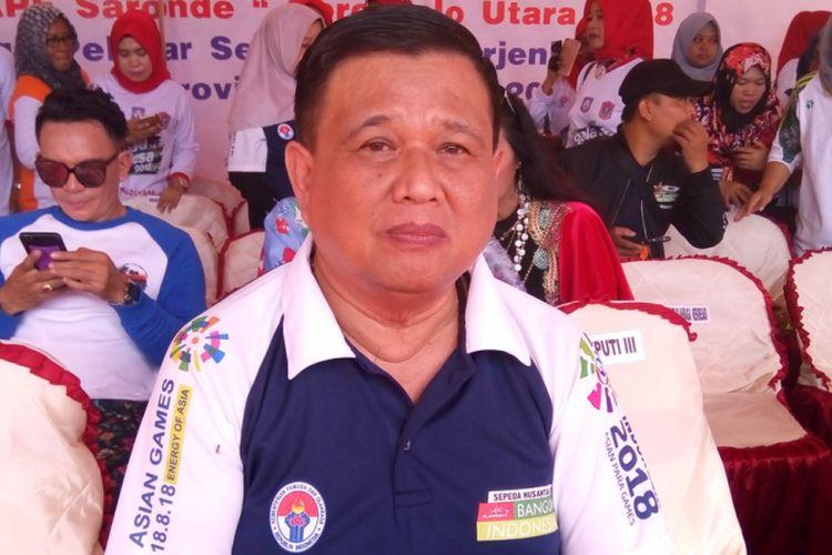 Wakil Gubernur Gorontalo Idris Rahim. Provinsi Gorontalo membina olahraga sepak takraw sebagai olahraga khas di provinsi tersebut. Foto diambil pada Minggu (12/8/2018)