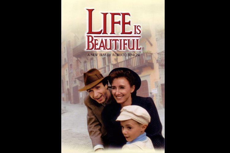 Roberto Benigni, Nicoletta Braschi, dan Giorgio Cantarini dalam film drama komedi Life is Beautiful (1997).