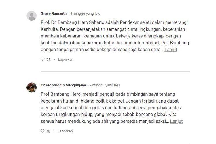 Dukungan untuk Bambang Hero di Change.org.