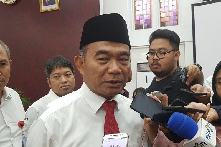 Menko PMK Muhadjir Effendy saat ditemui di Kantor Kemenko PMK, Senin (28/10/2019).