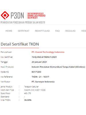 Ponsel Xiaomi dengan kode nomer M2011K2G  terdaftar di laman resmi TKDN.