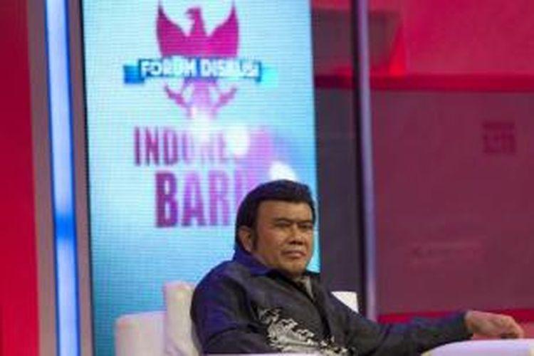 Rhoma Irama menghadiri forum diskusi Indonesia Baru di Studio Orange Kompas TV, Jakarta Selatan, Rabu (30/10/2013).