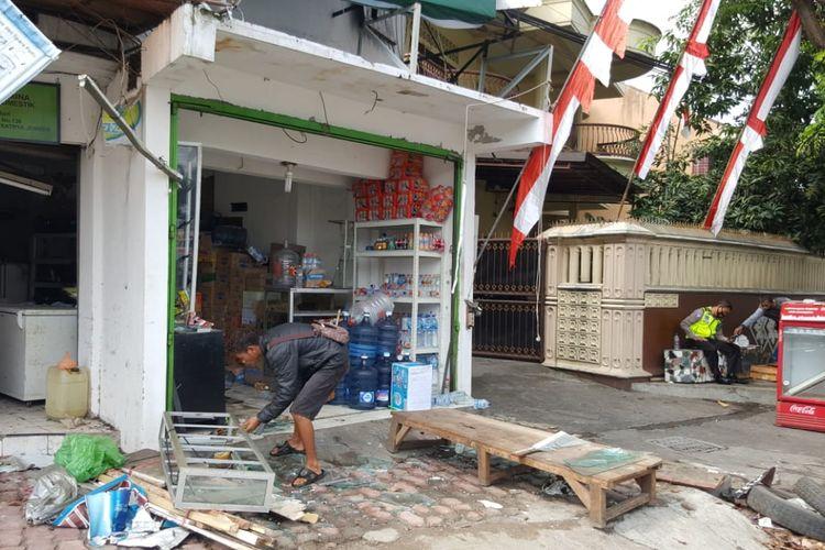 Kondisi toko gas LPG yang meledak di Jalan Sumatra Kecamatan Sumbersari Jember