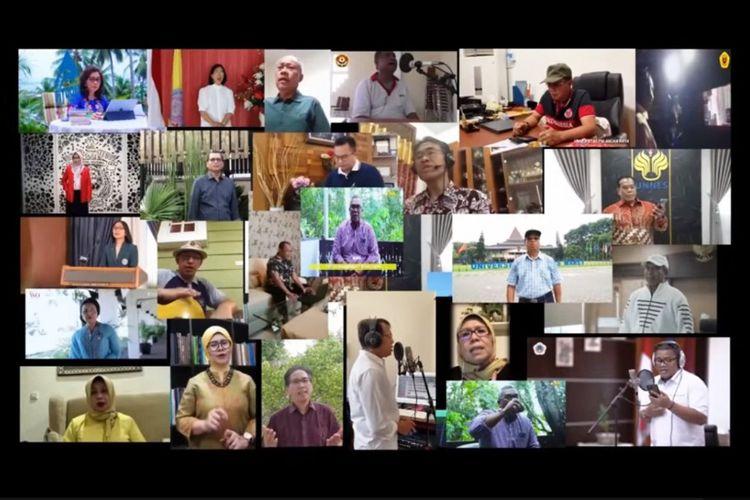 Tangkapan layar video Rumah Kita oleh 33 rektor PTN di Indonesia.