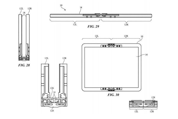 Ponsel lipat Apple yang punya komponen penutup (flaps) dilihat dari berbagai sisi.