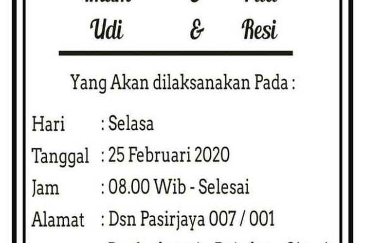 Surat undangan empat pasangan pengantin yang menikah bareng di Kecamatan Rajadesa Kabupaten Ciamis, Selasa (25/2/2020).