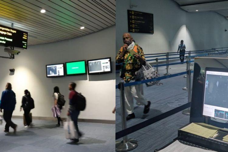 Kiri foto Januari 2020 sebelum Indonesia dinyatakan positif corona, kanan foto sesudah Indonesia positif Corona 4 Maret 2020 di Terminal 3 Kedatangan Internasional Bandara Soekarno-Hatta, Rabu (4/3/2020)